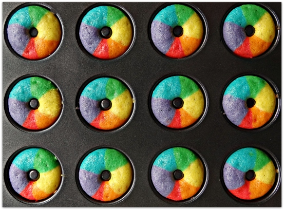 rainbow donuts tray